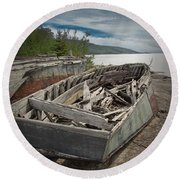 Shipwreck At Neys Provincial Park Round Beach Towel