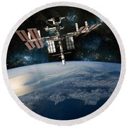 Shuttle Docked At Space Station Round Beach Towel