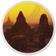 Shwesandaw Paya Temples Round Beach Towel