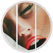 Side Kiss- Round Beach Towel by JD Mims