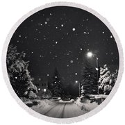 Silent Night Round Beach Towel