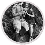 Silent Still: Man & Woman Round Beach Towel