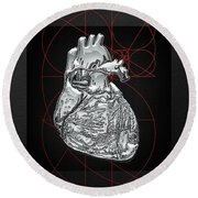 Silver Human Heart On Black Canvas Round Beach Towel