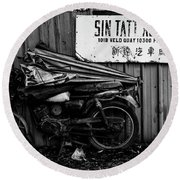 Sin Tatt Auto Works Round Beach Towel