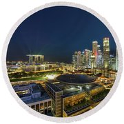 Singapore Cityscape At Night Round Beach Towel