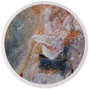 Sitting Young Girl Round Beach Towel