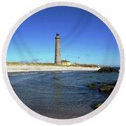 Skagen Denmark - Lighthouse Grey Tower Round Beach Towel