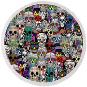 Halloween Round Beach Towel by Mark Ashkenazi