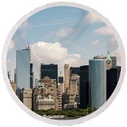 Skyline Of New York City - Lower Manhattan Round Beach Towel