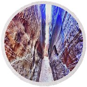 Slot Canyon Of Canyon De Chelly, Round Beach Towel