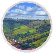 Small Town Round Beach Towel