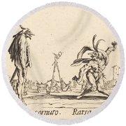 Smaralo Cornuto And Ratsa Di Boio Round Beach Towel