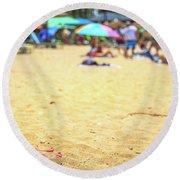 Smartphone Beach Woman Round Beach Towel