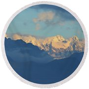 Snow Capped Dolomite Mountains In The Countryside Of Italy  Round Beach Towel