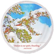 Snow-covered Conifer Round Beach Towel