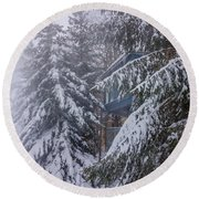 Snow Covered Trees In The North Carolina Mountains During Winter Round Beach Towel
