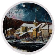 Snow In Chassepierre Round Beach Towel