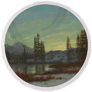Snow In The Rockies Round Beach Towel