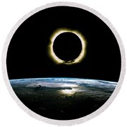 Solar Eclipse From Above The Earth - Infrared View Round Beach Towel