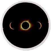 Solar Eclipse Full Composite Gold Round Beach Towel