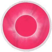 Solar Eclipse In Pink Color Round Beach Towel
