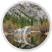 Some Beautiful Scene Of The Famous Mirror Lake Of Yosemite Round Beach Towel