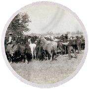 South Dakota: Cowboys Round Beach Towel