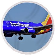 Southwest Airlines Airplane In Flight Round Beach Towel