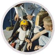 Space: Chimpanzee, 1961 Round Beach Towel