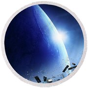 Space Junk Orbiting Earth Round Beach Towel
