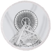 Space Needle- Looking Up Round Beach Towel