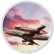 Space Shuttle Discovery Flies Off Into Retirement Round Beach Towel