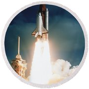 Space Shuttle Launch Round Beach Towel by NASA Science Source