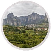 Spectacular Meteora Rock Formations Round Beach Towel