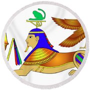 Sphinx - Mythical Creatures Of Ancient Egypt Round Beach Towel