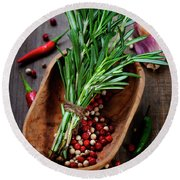 Spices On A Wooden Board Round Beach Towel
