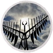 Spirit Catcher Against The Sky  Round Beach Towel