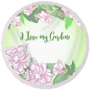 Spring  Background With White And Pink Peony Round Beach Towel