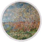Spring Round Beach Towel by Claude Monet