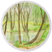 Spring Landscape, Painting Round Beach Towel