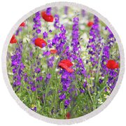 Spring Meadow With Wild Flowers Round Beach Towel
