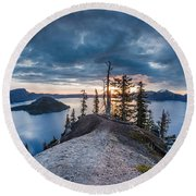 Spring Morning At Discovery Point Round Beach Towel