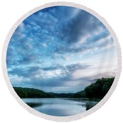 Spring Morning On The Lake Round Beach Towel