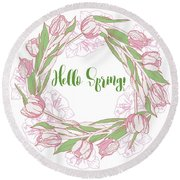Spring  Wreath With Pink White Tulips Round Beach Towel
