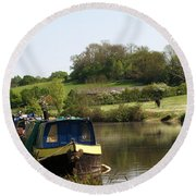 Springtime By The Canal Round Beach Towel