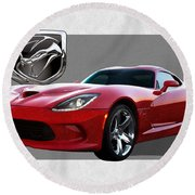 S R T  Viper With  3 D  Badge  Round Beach Towel