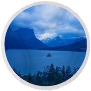 St. Mary Lake, Glacier National Park Round Beach Towel