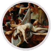 St Sebastian Thrown Into The Cloaca Maxima Round Beach Towel