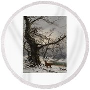 Stag In A Snow Covered Wooded Landscape Round Beach Towel