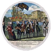 Stamp Act: Repeal, 1766 Round Beach Towel